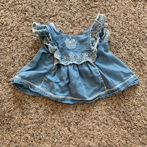 Chambray with White Detailed Baby Girls Top